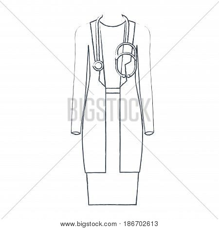 monochrome blurred silhouette of female doctor clothing vector illustration