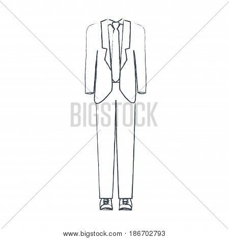 monochrome blurred silhouette of male formal suit clothes vector illustration