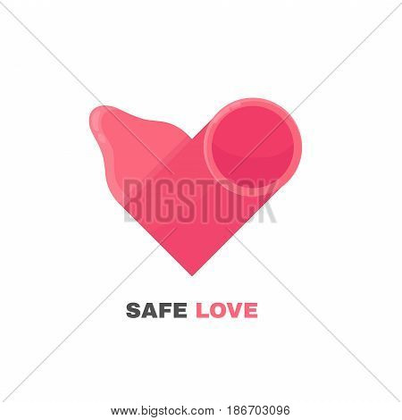 Condom in the form of heart.  isolated on white background. vector flat design cartoon illustration character icon logo. Save sex, love concept