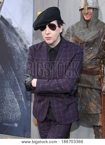 LOS ANGELES - MAY 08:  Marilyn Manson arrives for the 'King Arthur: Legend Of The Sword
