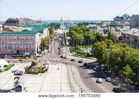 Above View Of St Sophia Square In Kiev City