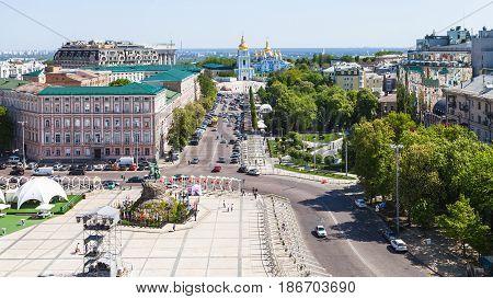 Above View Of St Sofia Square In Kiev City