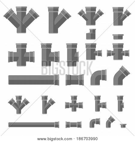 Sewage pipes flat icons. Vector set parts and pipes of engineering sewer system.