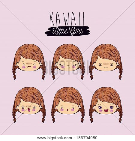 pink background set for six facial expression kawaii little girl vector illustration