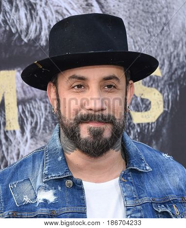 LOS ANGELES - MAY 08:  AJ McLean arrives for the 'King Arthur: Legend Of The Sword