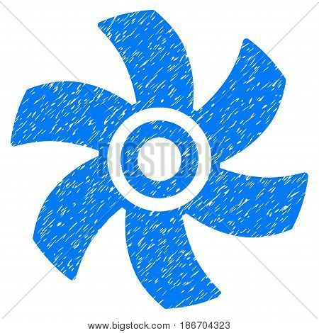 Grunge Rotor icon with grunge design and dirty texture. Unclean vector blue pictogram for rubber seal stamp imitations and watermarks. Draft sign symbol.