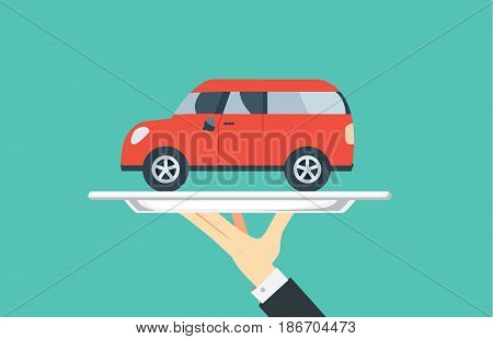 Hand holding silver tray which have a red car paste in it. Illustration in catering concept.