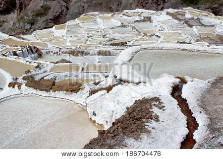 The Maras salt ponds located at the Peru's Sacred Valley