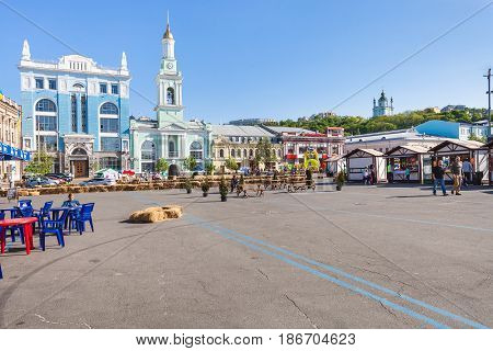 People And Outdoor Market On Kontraktova Square