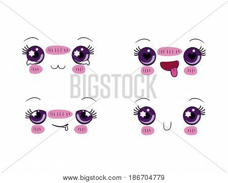 white background set for four different facial expression kawaii vector illustration