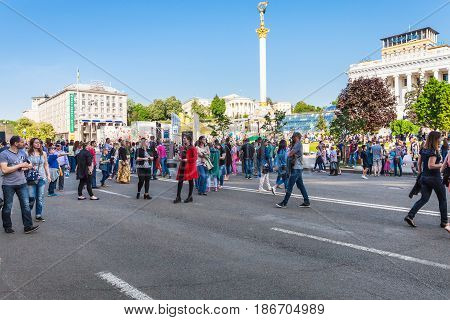 People On Khreshchatyk Street In Kiev City