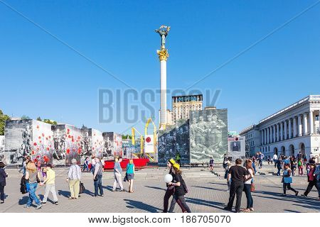 People On Khreshchatyk Street Near Maidan In Kiev