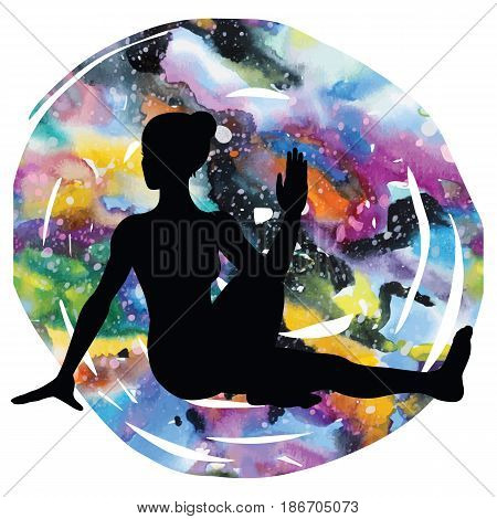 Women silhouette on galaxy astral background. Marichis yoga pose. Marichyasana Vector illustration