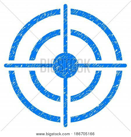 Grunge Target icon with grunge design and dust texture. Unclean vector blue pictogram for rubber seal stamp imitations and watermarks. Draft emblem symbol.