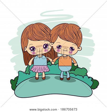 color picture couple kawaii kids girl cryin and boy excited taken hands in forest vector illustration