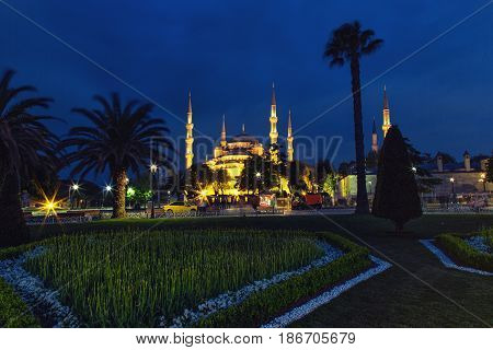 Night view of Sultan Ahmed Mosque also known as the Blue Mosque Istanbul Turkey