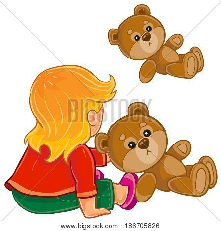 Vector illustration of young child sitting on the floor and play with Teddy bear. Print, template, design element
