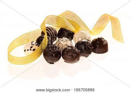 Chocolate gold ribbon candy isolated snack milk chocolate bonbon