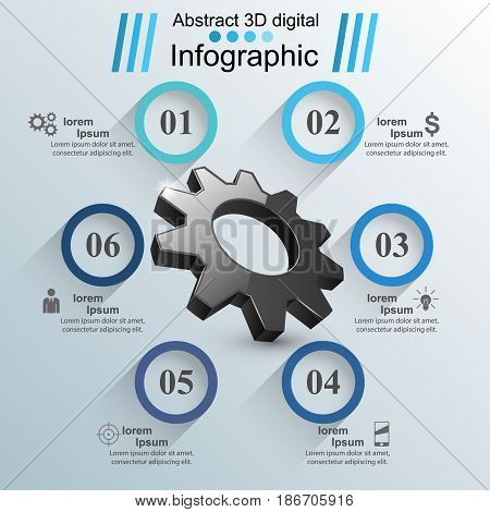 Business Infographics origami style Vector illustration. Gear icon.