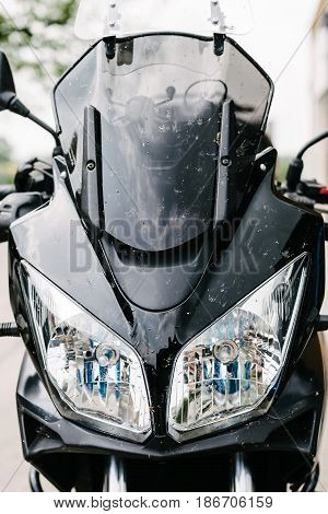 Black Touristic Motorbike Dirty From Insects