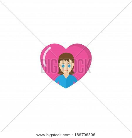 Flat Loving Mam Element. Vector Illustration Of Flat Heart Isolated On Clean Background. Can Be Used As Heart, Love And Mother Symbols.