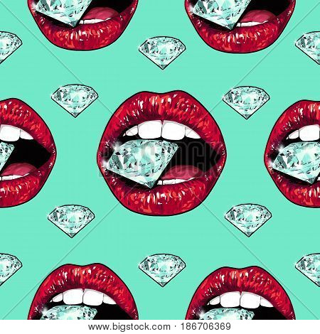 Bright lips holding a sparkling brilliant. Seamless pattern. Realistic graphic drawing. Background. Mint