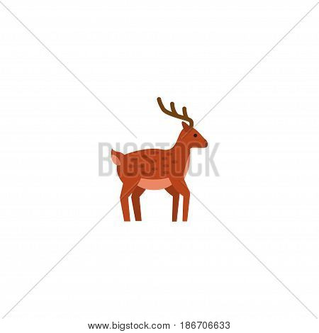 Flat Deer Element. Vector Illustration Of Flat Horns Isolated On Clean Background. Can Be Used As Horns, Deer And Mammal Symbols.