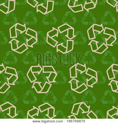 Seamless vector recycling sign pattern for packaging and print. Recycle symbol pattern.