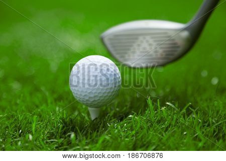 Golf golf club ball hole competition drive grass