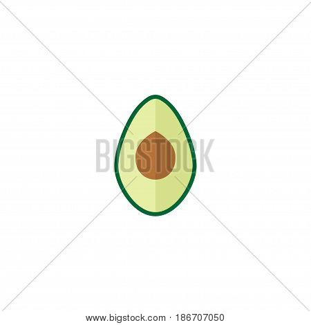 Flat Avocado Element. Vector Illustration Of Flat Alligator Pear Isolated On Clean Background. Can Be Used As Avocado, Pear And Fruit Symbols.