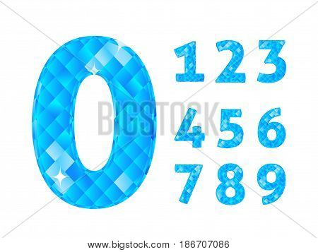 Realistic vector illustration with blue Jewerly numbers set. Number set. Jewerly numbers