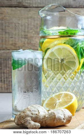 Diet Drinks juice cucumber lemon mint ginger ice health slimming vitamins refreshing tasty useful cleansing slim water