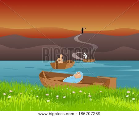 Vector illustration of a birth and death