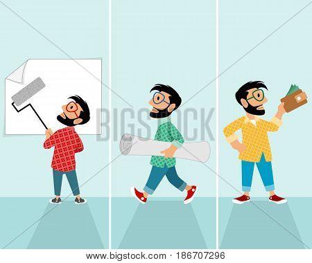 Vector illustration of a three men occupation