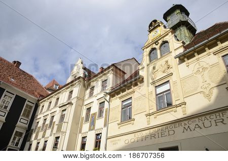 GRAZ, AUSTRIA - MARCH 19, 2017: Gottfried Maurer house on Glockenspielplatz square in Graz the capital of federal state of Styria Austria.