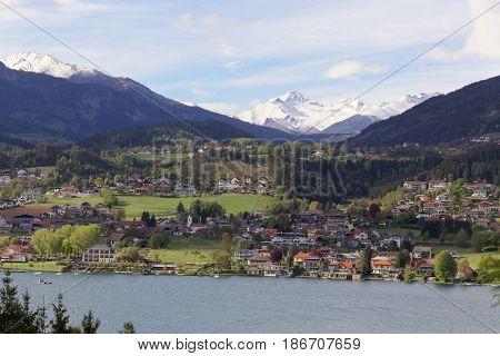 Landscape at the Lake Millstatt in the Gurktal Alps Carinthia Austria