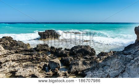 Waves beat on the rocky shore, Mediterranean Sea. Cyprus