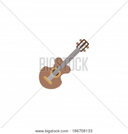 Flat Guitar Element. Vector Illustration Of Flat Acoustic Isolated On Clean Background. Can Be Used As Guitar, Musical And Acoustic Symbols.