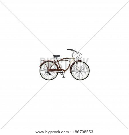 Realistic Cruise Bicycle Element. Vector Illustration Of Realistic Journey Bike Isolated On Clean Background. Can Be Used As Cruise, Bicycle And Bike Symbols.