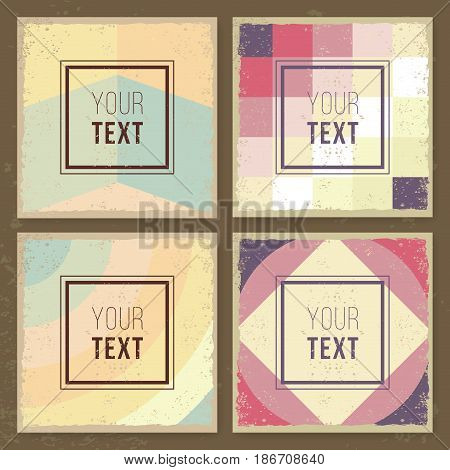 Vintage creative cards. Hipster textures. Retro patterns for Posters, Flayers and Banner Designs. Template