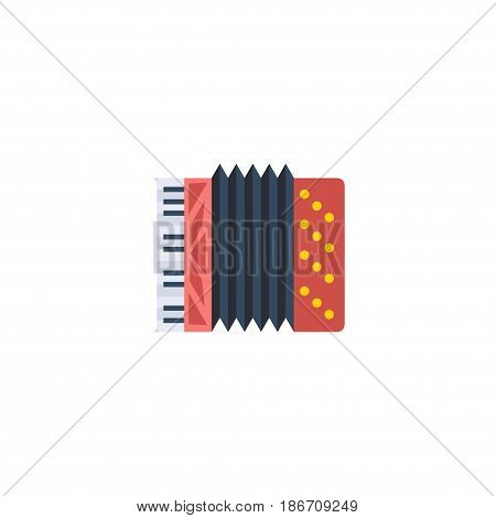 Flat Accordion Element. Vector Illustration Of Flat Harmonica Isolated On Clean Background. Can Be Used As Accordion, Harmonica And Instrument Symbols.
