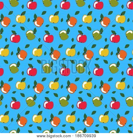 Seamless Background Of Painted Multi-colored Apples. Pattern