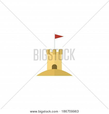Flat Sand Element. Vector Illustration Of Flat Castle Isolated On Clean Background. Can Be Used As Sand, Castle And Tower Symbols.