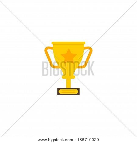 Flat Champion Cup Element. Vector Illustration Of Flat Trophy  Isolated On Clean Background. Can Be Used As Trophy, Champion And Cup Symbols.