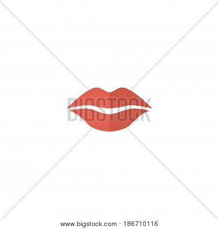 Flat Lips Element. Vector Illustration Of Flat Kiss Isolated On Clean Background. Can Be Used As Lips, Kiss And Mouth Symbols.