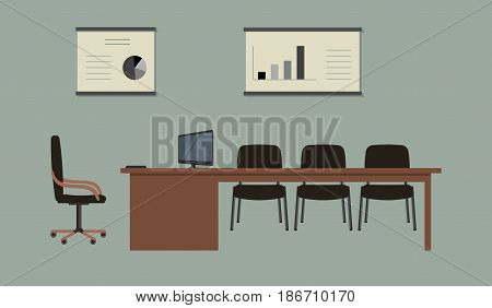 Conference hall. The office room is prepared for the meeting. There is a large desk, black chairs and posters with diagrams in the picture. On the table is a computer. Vector illustration.