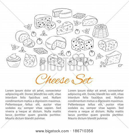 Vector banner template with different types of cheese, Mozzarella, Swiss Cheese, Gouda, Roquefort, Parmesan, Cheddar, Gorgonzola , Mascarpone, Brie hand drawn illustration