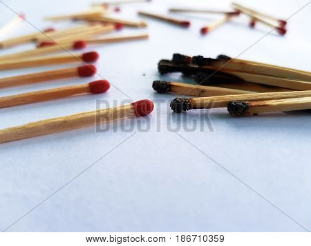 The macro details of the matches with burning matches falling on white background, close-up