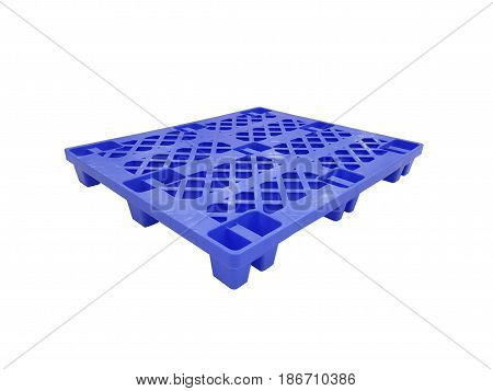 Blue plastic pallet on white background,pallet for transportation.