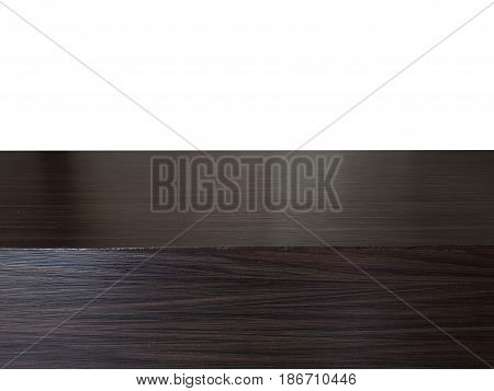 Wooden board empty table top on white background,Perspective dark wood table can be used mock up for montage products display or design key visual layout.